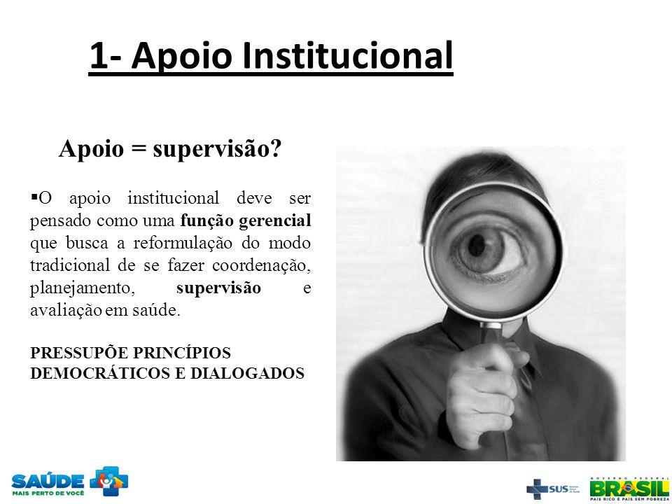 Apoio = supervisão?  O apoio institucional deve ser pensado como uma função gerencial que busca a reformulação do modo tradicional de se fazer coorde