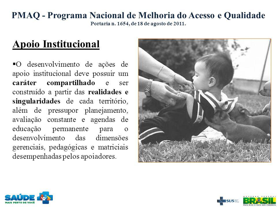 PMAQ - Programa Nacional de Melhoria do Acesso e Qualidade Portaria n. 1654, de 18 de agosto de 2011. Apoio Institucional  O desenvolvimento de ações