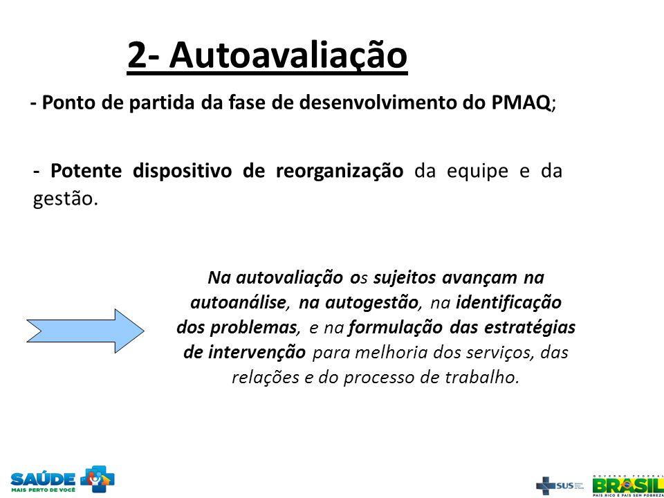 2- Autoavaliação - Ponto de partida da fase de desenvolvimento do PMAQ; - Potente dispositivo de reorganização da equipe e da gestão. Na autovaliação