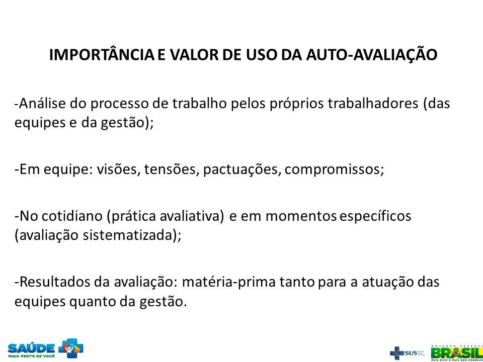 IMPORTÂNCIA E VALOR DE USO DA AUTO-AVALIAÇÃO - Análise do processo de trabalho pelos próprios trabalhadores (das equipes e da gestão); -Em equipe: vis