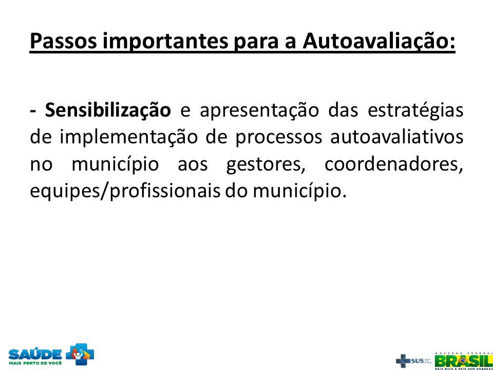 Passos importantes para a Autoavaliação: - Sensibilização e apresentação das estratégias de implementação de processos autoavaliativos no município ao