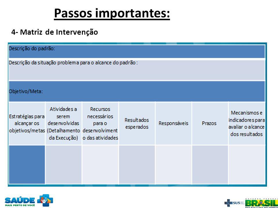 Passos importantes: 4- Matriz de Intervenção