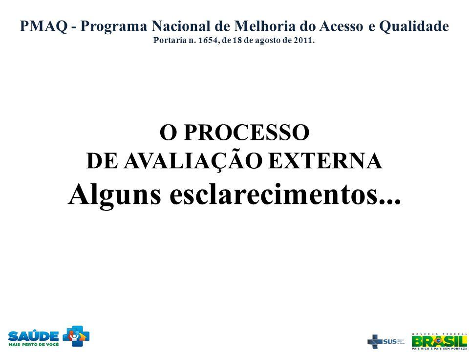 PMAQ - Programa Nacional de Melhoria do Acesso e Qualidade Portaria n. 1654, de 18 de agosto de 2011. O PROCESSO DE AVALIAÇÃO EXTERNA Alguns esclareci
