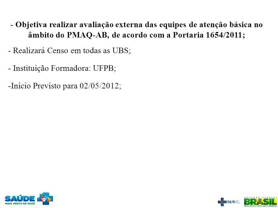 - Objetiva realizar avaliação externa das equipes de atenção básica no âmbito do PMAQ-AB, de acordo com a Portaria 1654/2011; - Realizará Censo em tod