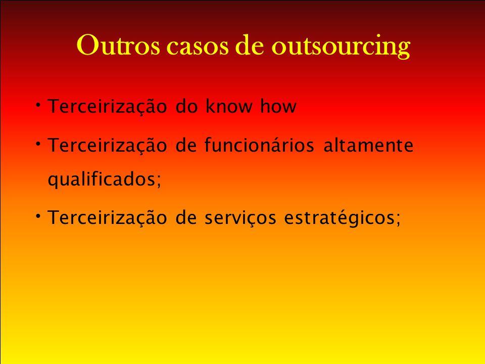Outros casos de outsourcing Terceirização do know how Terceirização de funcionários altamente qualificados; Terceirização de serviços estratégicos;