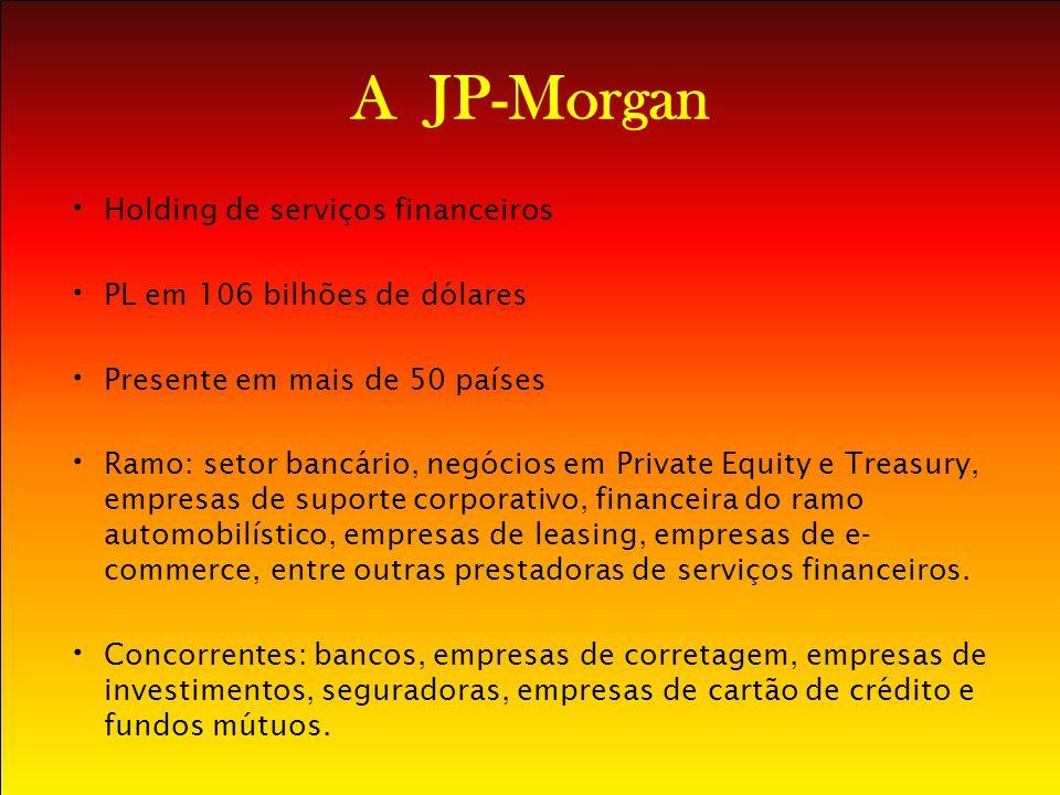 A JP-Morgan Holding de serviços financeiros PL em 106 bilhões de dólares Presente em mais de 50 países Ramo: setor bancário, negócios em Private Equit