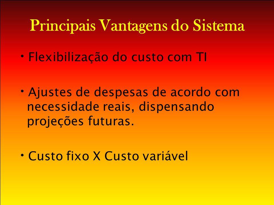 Principais Vantagens do Sistema Flexibilização do custo com TI Ajustes de despesas de acordo com necessidade reais, dispensando projeções futuras. Cus