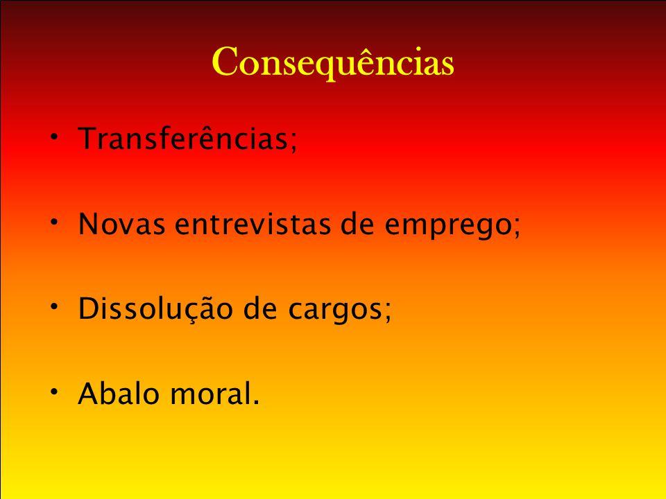 Consequências Transferências; Novas entrevistas de emprego; Dissolução de cargos; Abalo moral.