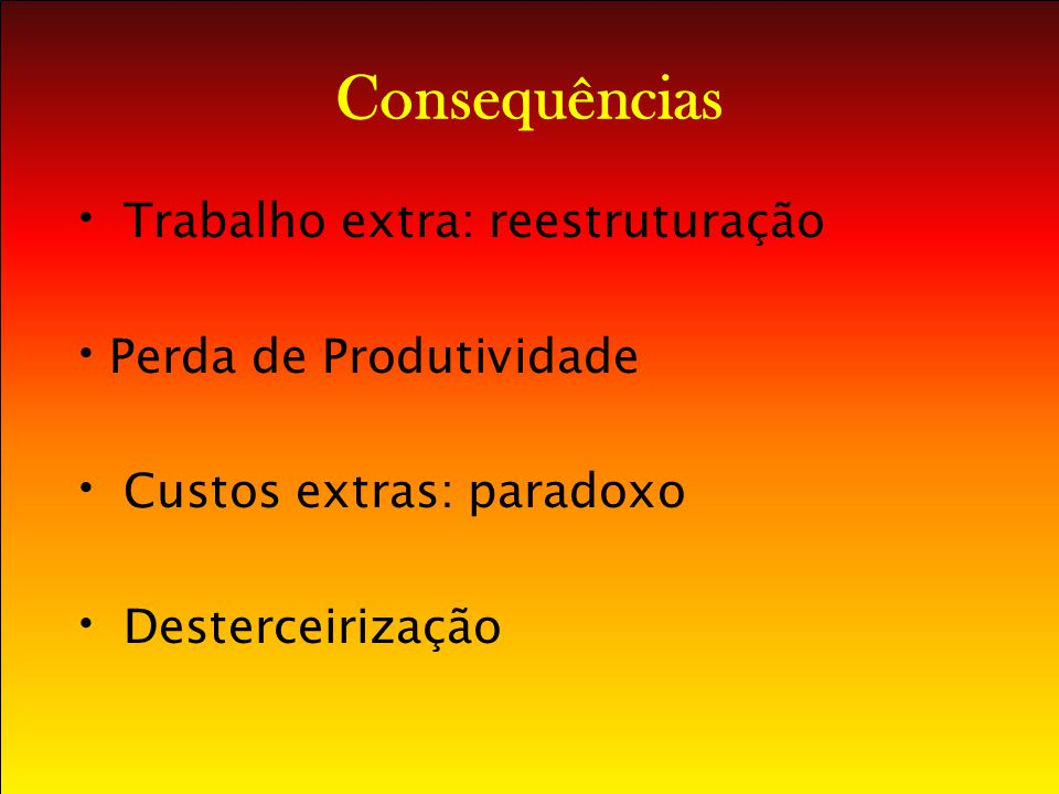 Consequências Trabalho extra: reestruturação Perda de Produtividade Custos extras: paradoxo Desterceirização