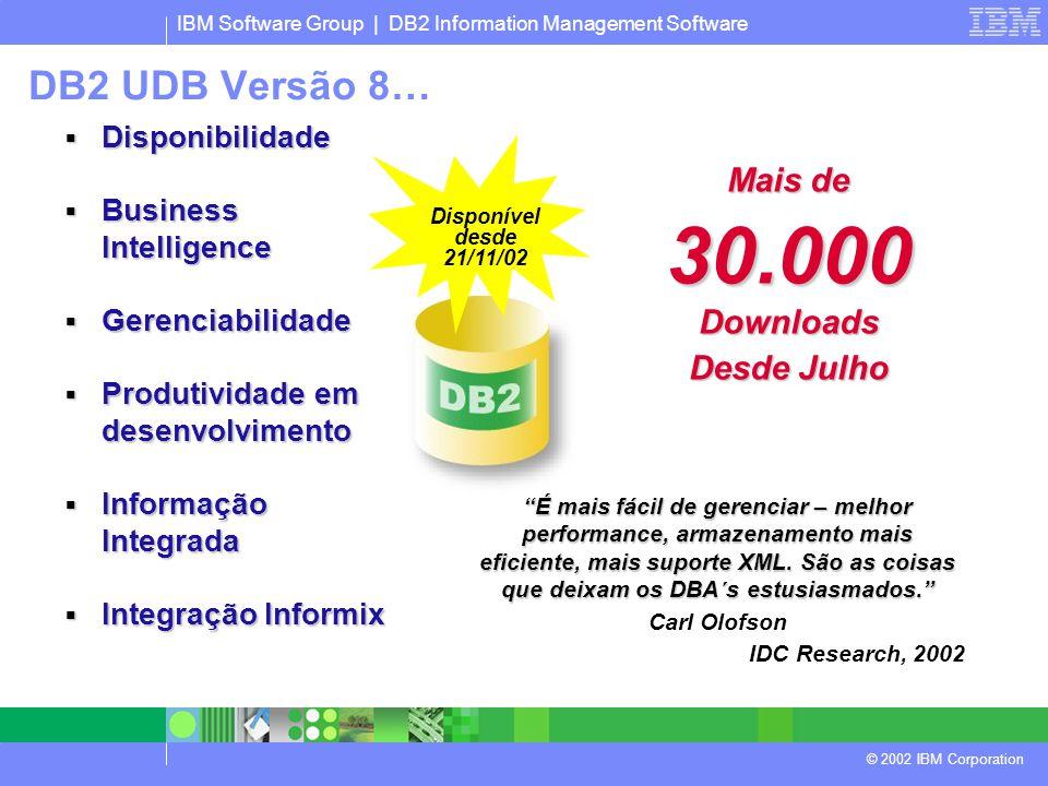 IBM Software Group | DB2 Information Management Software © 2002 IBM Corporation Disponível desde 21/11/02  Disponibilidade  Business Intelligence  Gerenciabilidade  Produtividade em desenvolvimento  Informação Integrada  Integração Informix Mais de 30.000 Downloads Desde Julho É mais fácil de gerenciar – melhor performance, armazenamento mais eficiente, mais suporte XML.