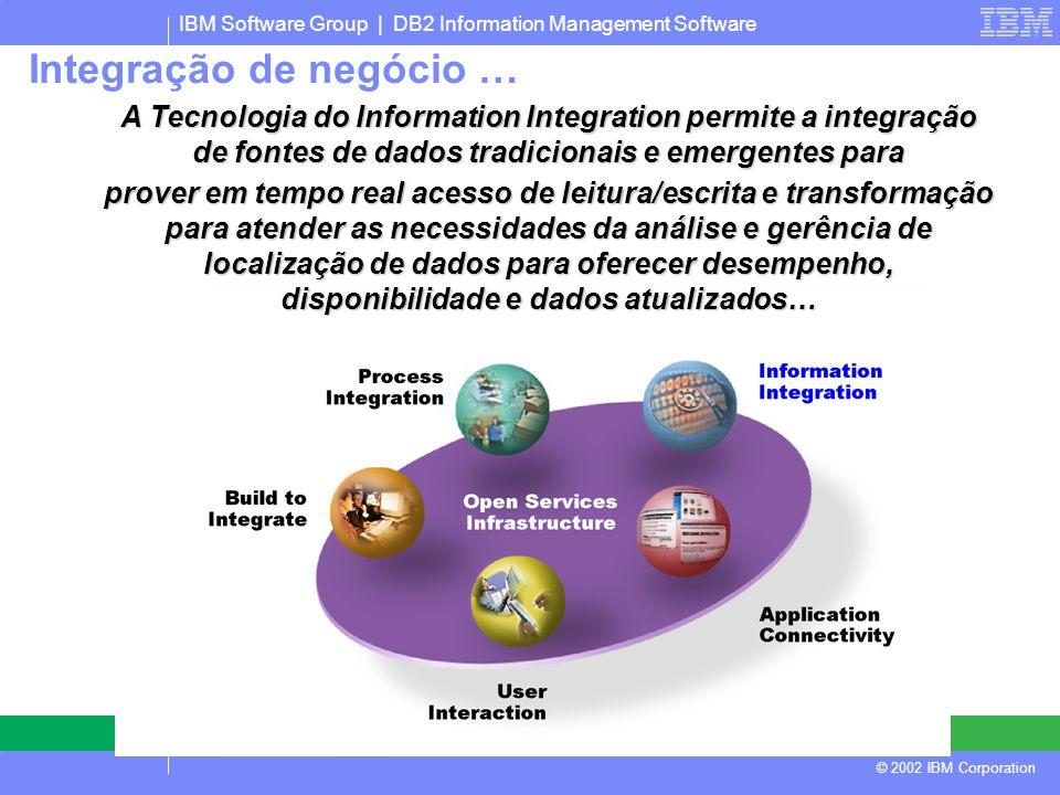 IBM Software Group | DB2 Information Management Software © 2002 IBM Corporation A Tecnologia do Information Integration permite a integração de fontes