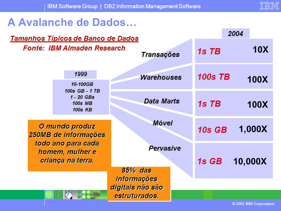 IBM Software Group | DB2 Information Management Software © 2002 IBM Corporation 10-100GB 100s GB - 1 TB 1 - 20 GBs 100s MB 100s KB 1999 1s TB 100s TB
