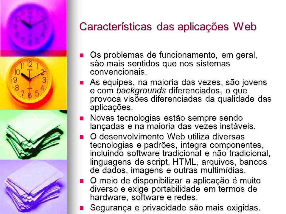 Características das aplicações Web Os problemas de funcionamento, em geral, são mais sentidos que nos sistemas convencionais.