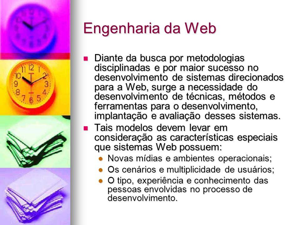 Engenharia da Web Diante da busca por metodologias disciplinadas e por maior sucesso no desenvolvimento de sistemas direcionados para a Web, surge a necessidade do desenvolvimento de técnicas, métodos e ferramentas para o desenvolvimento, implantação e avaliação desses sistemas.