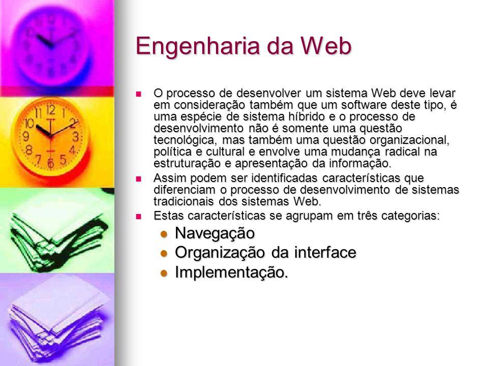 Engenharia da Web O processo de desenvolver um sistema Web deve levar em consideração também que um software deste tipo, é uma espécie de sistema híbrido e o processo de desenvolvimento não é somente uma questão tecnológica, mas também uma questão organizacional, política e cultural e envolve uma mudança radical na estruturação e apresentação da informação.