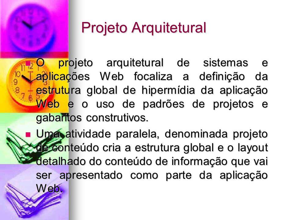 Projeto Arquitetural O projeto arquitetural de sistemas e aplicações Web focaliza a definição da estrutura global de hipermídia da aplicação Web e o uso de padrões de projetos e gabaritos construtivos.
