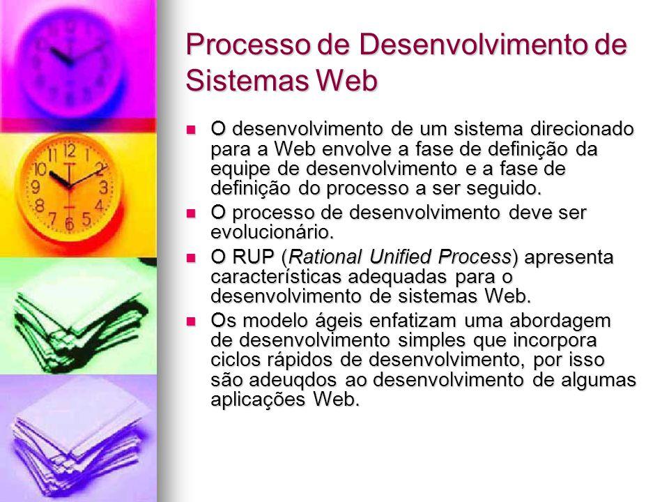 Processo de Desenvolvimento de Sistemas Web O desenvolvimento de um sistema direcionado para a Web envolve a fase de definição da equipe de desenvolvimento e a fase de definição do processo a ser seguido.