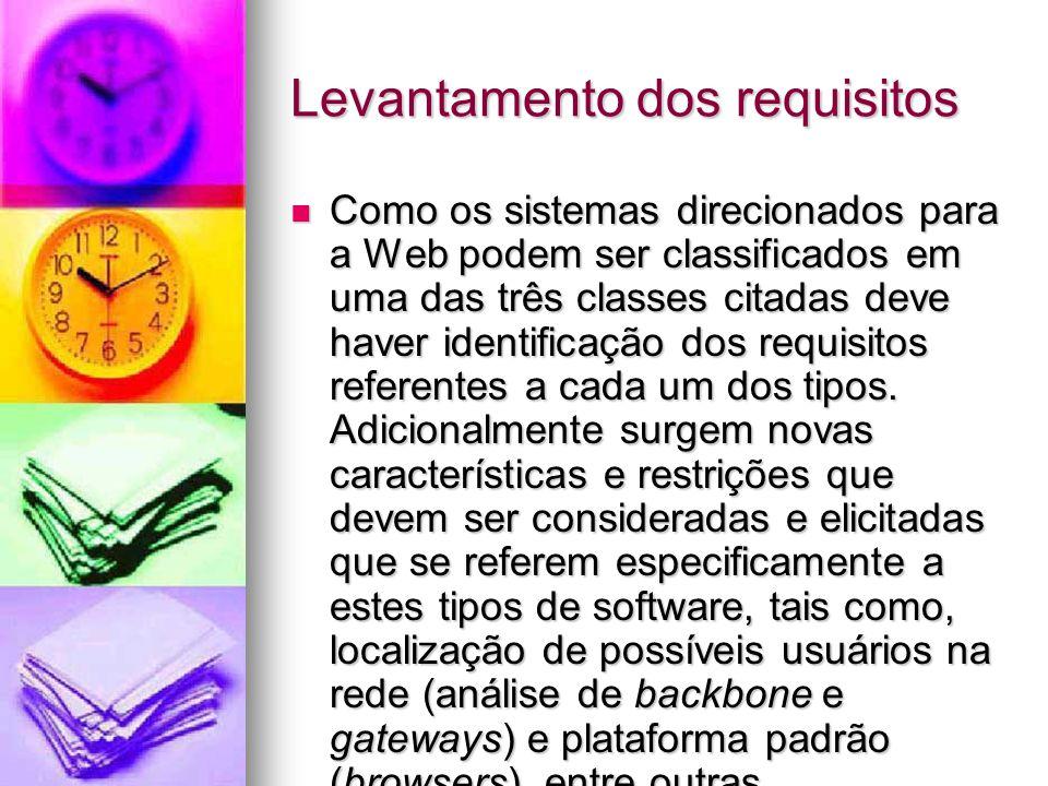 Levantamento dos requisitos Como os sistemas direcionados para a Web podem ser classificados em uma das três classes citadas deve haver identificação dos requisitos referentes a cada um dos tipos.