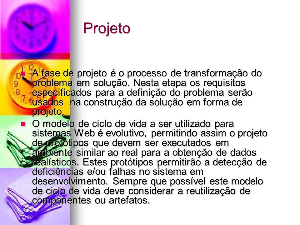 Projeto A fase de projeto é o processo de transformação do problema em solução.
