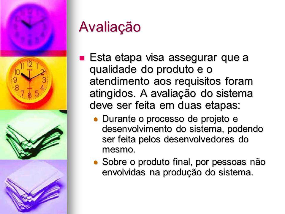Avaliação Esta etapa visa assegurar que a qualidade do produto e o atendimento aos requisitos foram atingidos.