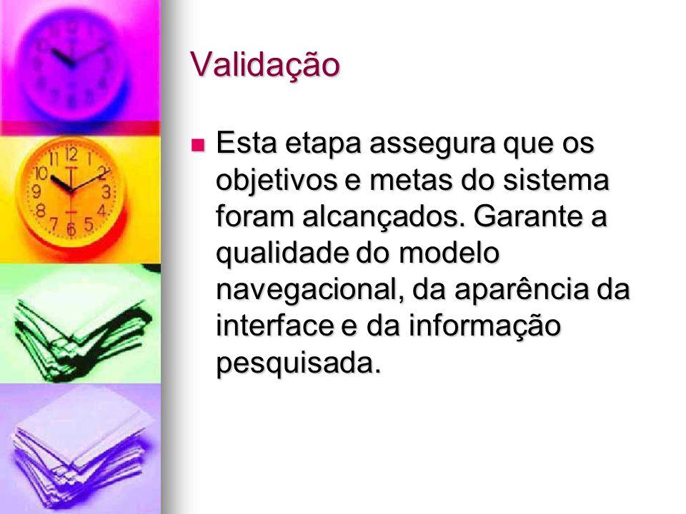 Validação Esta etapa assegura que os objetivos e metas do sistema foram alcançados.
