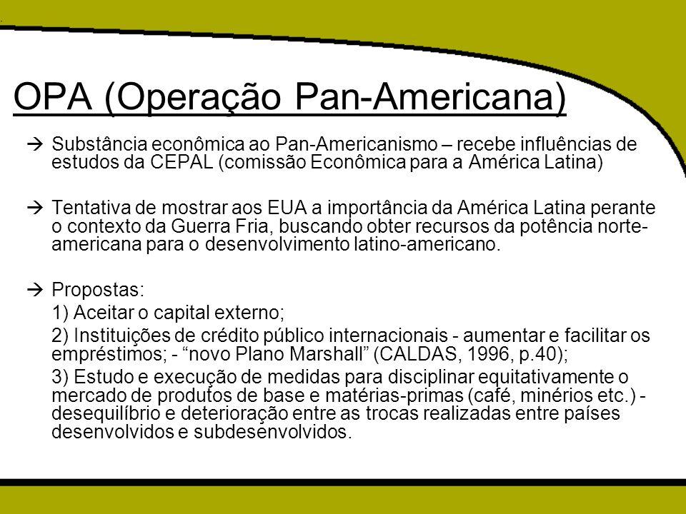 OPA (Operação Pan-Americana)  Substância econômica ao Pan-Americanismo – recebe influências de estudos da CEPAL (comissão Econômica para a América La