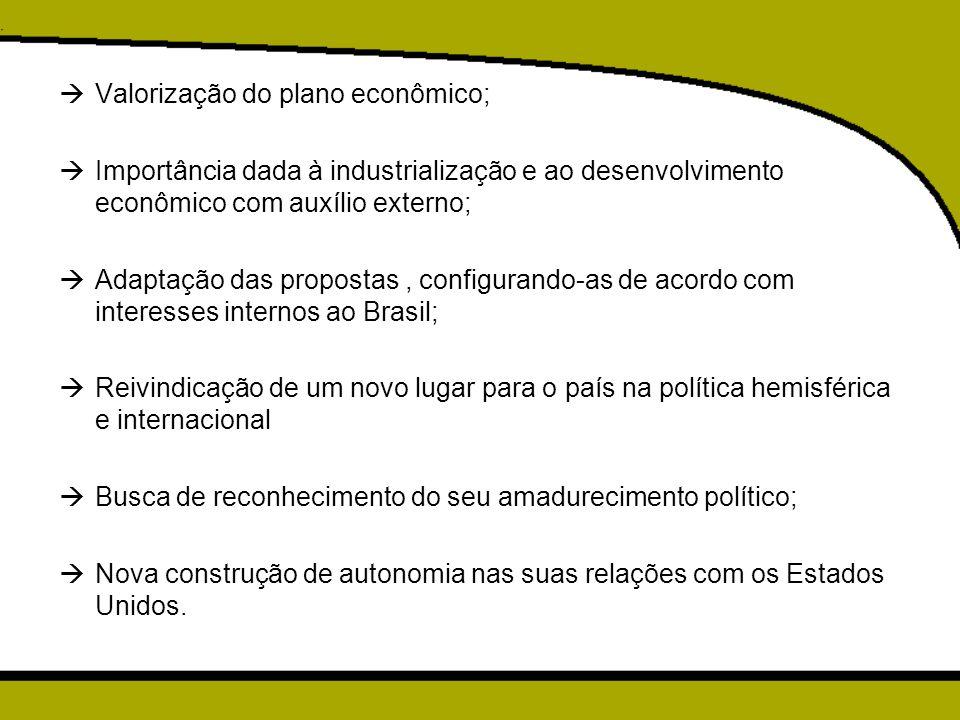  Valorização do plano econômico;  Importância dada à industrialização e ao desenvolvimento econômico com auxílio externo;  Adaptação das propostas,