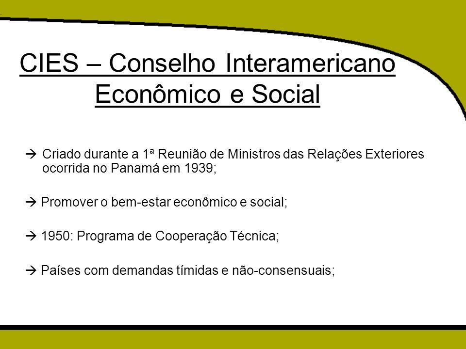 CIES – Conselho Interamericano Econômico e Social  Criado durante a 1ª Reunião de Ministros das Relações Exteriores ocorrida no Panamá em 1939;  Pro