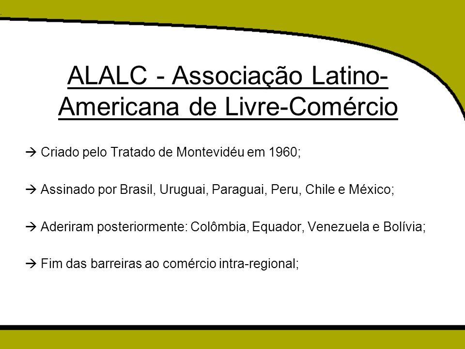 ALALC - Associação Latino- Americana de Livre-Comércio  Criado pelo Tratado de Montevidéu em 1960;  Assinado por Brasil, Uruguai, Paraguai, Peru, Ch
