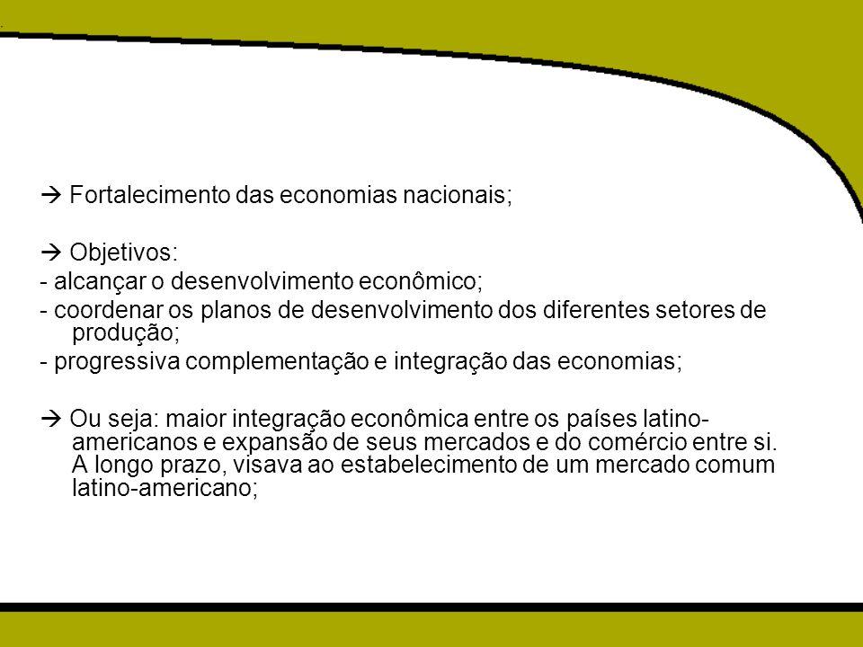  Fortalecimento das economias nacionais;  Objetivos: - alcançar o desenvolvimento econômico; - coordenar os planos de desenvolvimento dos diferentes