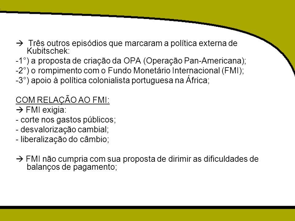  Três outros episódios que marcaram a política externa de Kubitschek: -1°) a proposta de criação da OPA (Operação Pan-Americana); -2°) o rompimento c