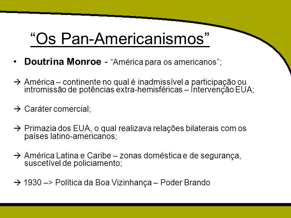 """""""Os Pan-Americanismos"""" Doutrina Monroe - """"América para os americanos"""";  América – continente no qual é inadmissível a participação ou intromissão de"""