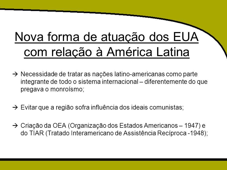 Nova forma de atuação dos EUA com relação à América Latina  Necessidade de tratar as nações latino-americanas como parte integrante de todo o sistema