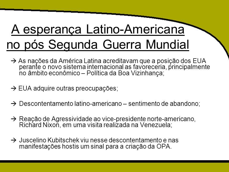 Postura de JK  Não confrontamento com as principais potências ocidentais e agressividade frente ao subdesenvolvimento da região;  Brasil estava mais preocupado com a questão econômica e sua reestruturação, do que com a distribuição do poder no cenário internacional;  JK atribui um caráter econômico ao Pan-Americanismo; Pan-Americanismo era concebido até então como uma forma de unir os países do subcontinente (ou da América toda) em torno de questões como o anticolonialismo, a coexistência pacífica, a luta contra hegemonias e a defesa em caso de ataques externos. (CALDAS, 1996, p.