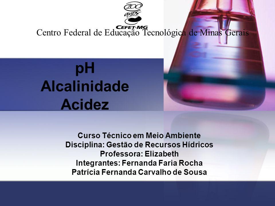 pH Alcalinidade Acidez Curso Técnico em Meio Ambiente Disciplina: Gestão de Recursos Hídricos Professora: Elizabeth Integrantes: Fernanda Faria Rocha