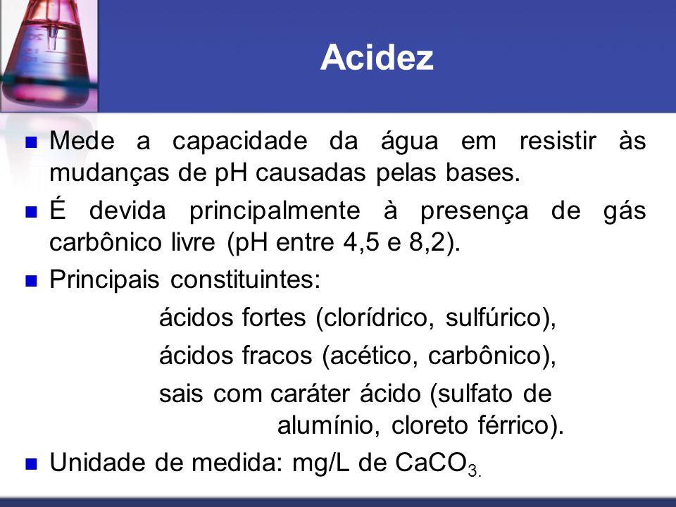 Acidez Mede a capacidade da água em resistir às mudanças de pH causadas pelas bases. É devida principalmente à presença de gás carbônico livre (pH ent