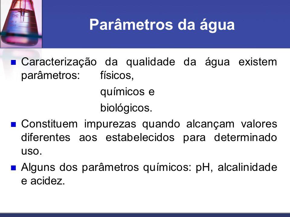 Parâmetros da água Caracterização da qualidade da água existem parâmetros: físicos, químicos e biológicos. Constituem impurezas quando alcançam valore