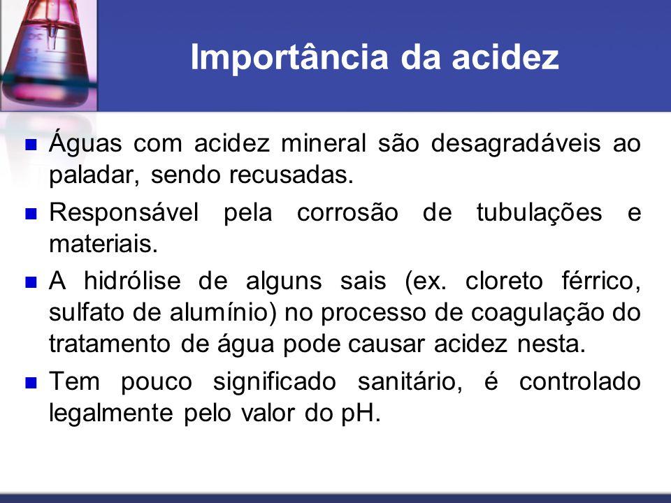 Importância da acidez Águas com acidez mineral são desagradáveis ao paladar, sendo recusadas. Responsável pela corrosão de tubulações e materiais. A h