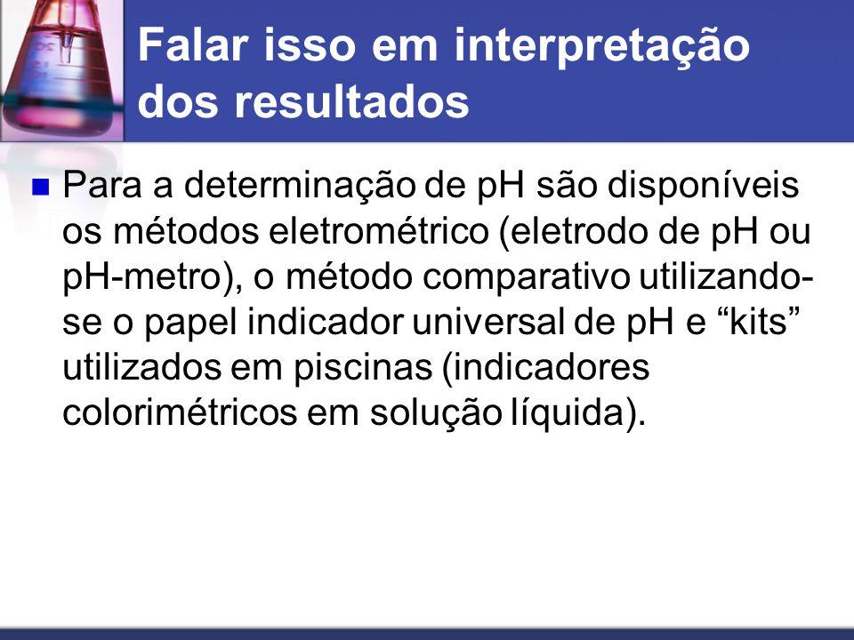 Falar isso em interpretação dos resultados Para a determinação de pH são disponíveis os métodos eletrométrico (eletrodo de pH ou pH-metro), o método c