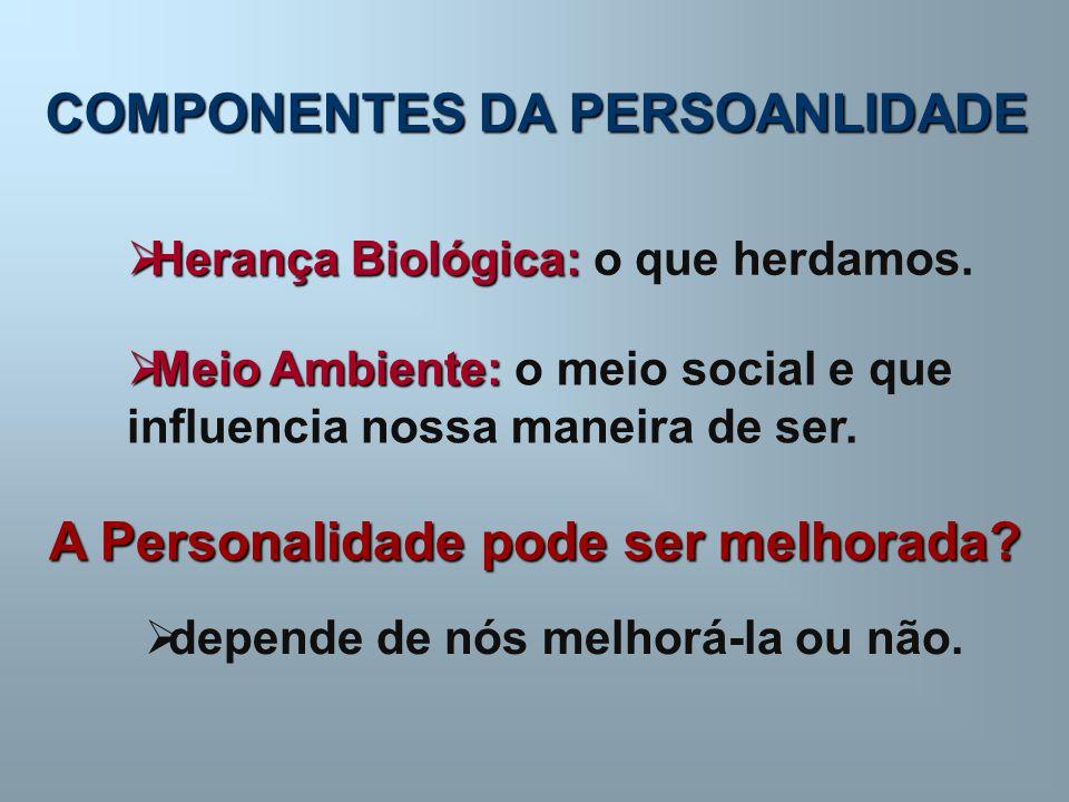 COMPONENTES DA PERSOANLIDADE  Herança Biológica:  Herança Biológica: o que herdamos.  Meio Ambiente:  Meio Ambiente: o meio social e que influenci