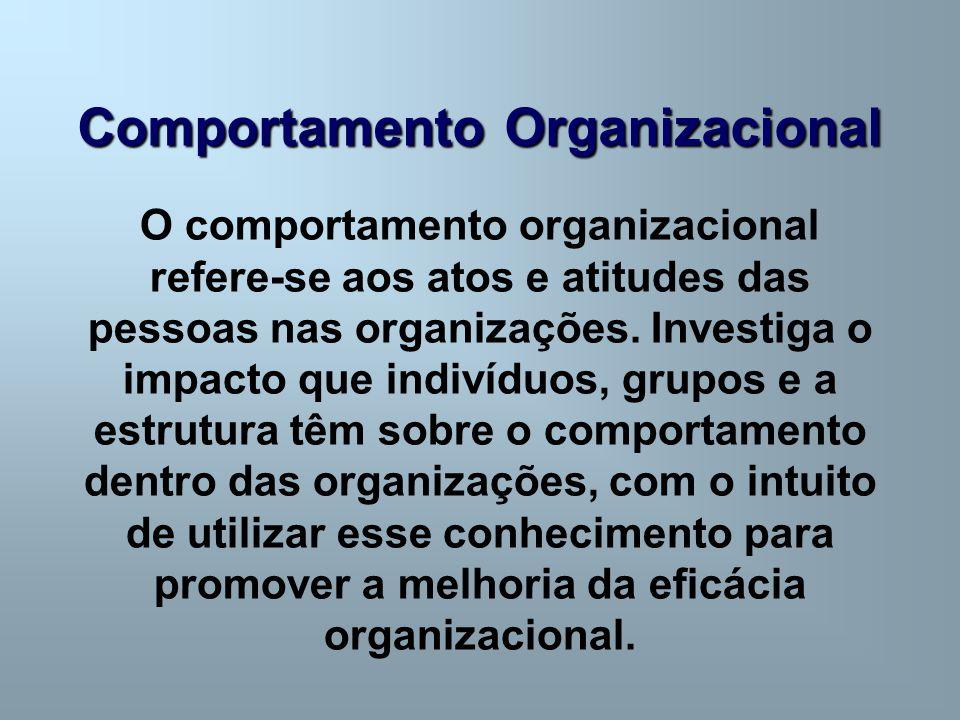 Comportamento Organizacional O comportamento organizacional refere-se aos atos e atitudes das pessoas nas organizações. Investiga o impacto que indiví