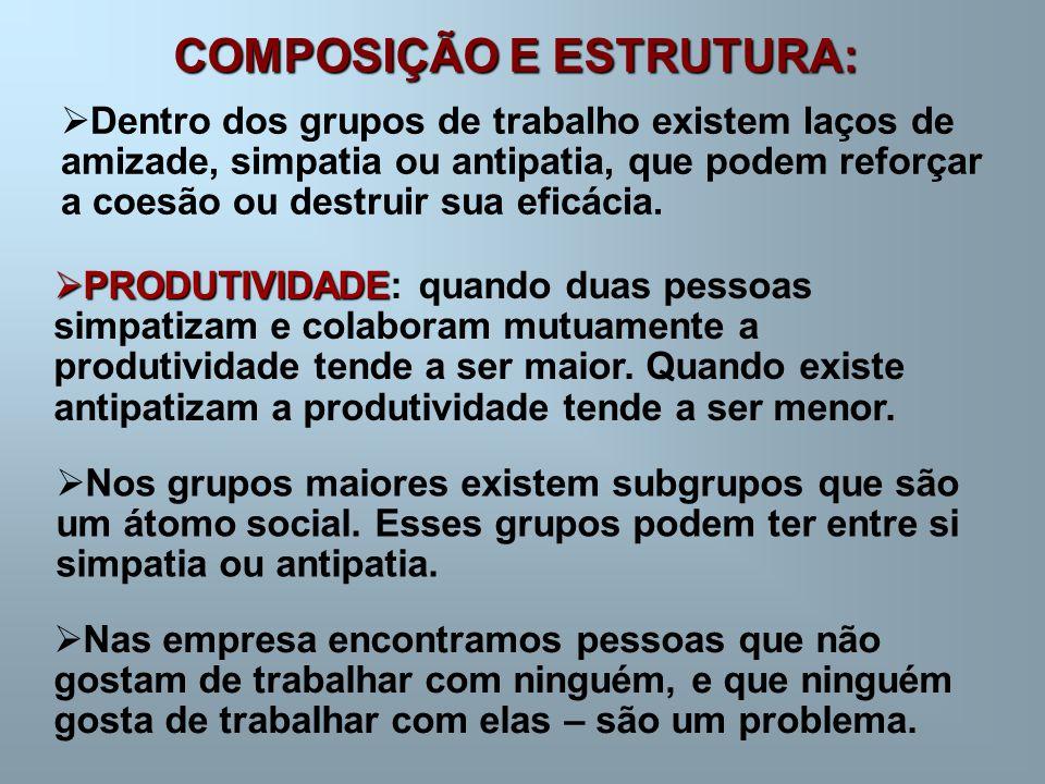 COMPOSIÇÃO E ESTRUTURA:  Dentro dos grupos de trabalho existem laços de amizade, simpatia ou antipatia, que podem reforçar a coesão ou destruir sua e