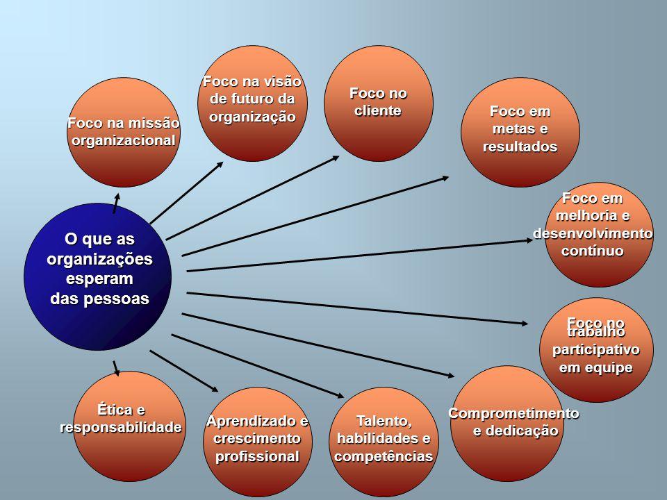 O que as organizaçõesesperam das pessoas Foco na missão organizacional Foco na visão de futuro da organização Foco no cliente Foco em metas e resultad
