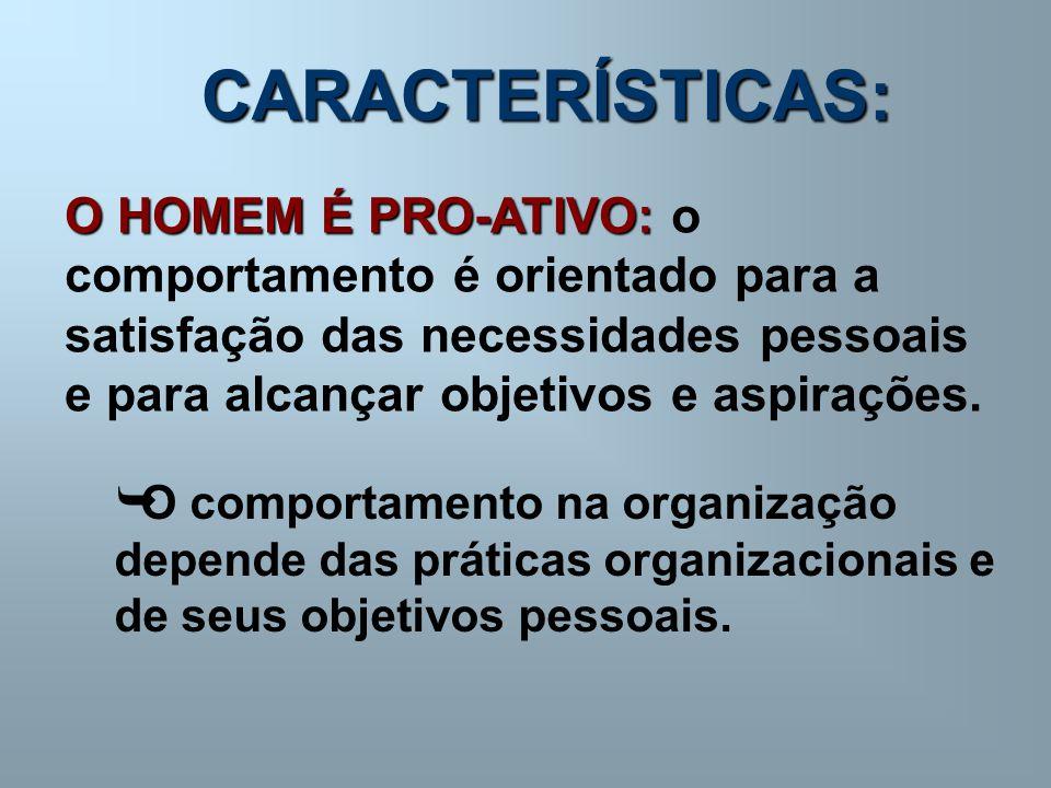 CARACTERÍSTICAS: O HOMEM É PRO-ATIVO: O HOMEM É PRO-ATIVO: o comportamento é orientado para a satisfação das necessidades pessoais e para alcançar obj