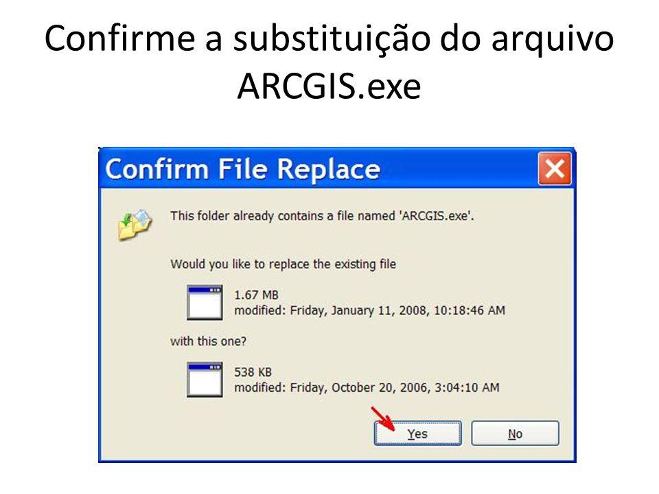 Confirme a substituição do arquivo ARCGIS.exe