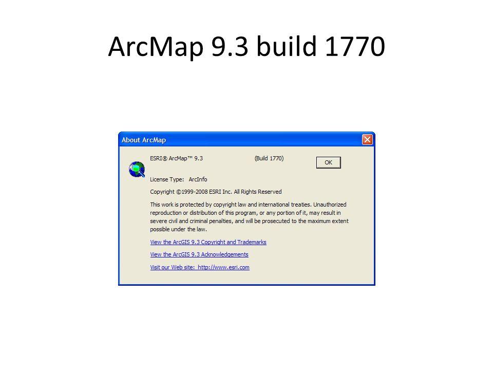 ArcMap 9.3 build 1770