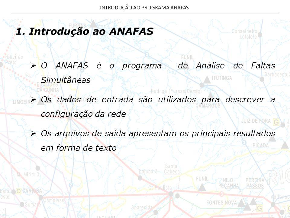 INTRODUÇÃO AO PROGRAMA ANAFAS 1. Introdução ao ANAFAS  O ANAFAS é o programa de Análise de Faltas Simultâneas  Os dados de entrada são utilizados pa