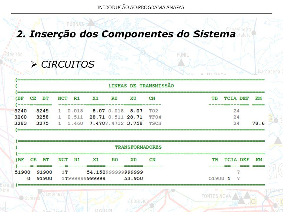 2. Inserção dos Componentes do Sistema  CIRCUITOS INTRODUÇÃO AO PROGRAMA ANAFAS