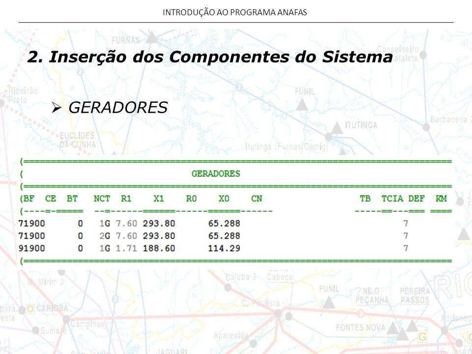 2. Inserção dos Componentes do Sistema  GERADORES INTRODUÇÃO AO PROGRAMA ANAFAS