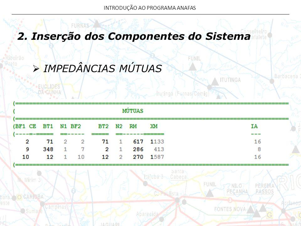 2. Inserção dos Componentes do Sistema  IMPEDÂNCIAS MÚTUAS INTRODUÇÃO AO PROGRAMA ANAFAS